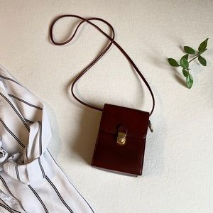 Vintage leather compact crossbody purse